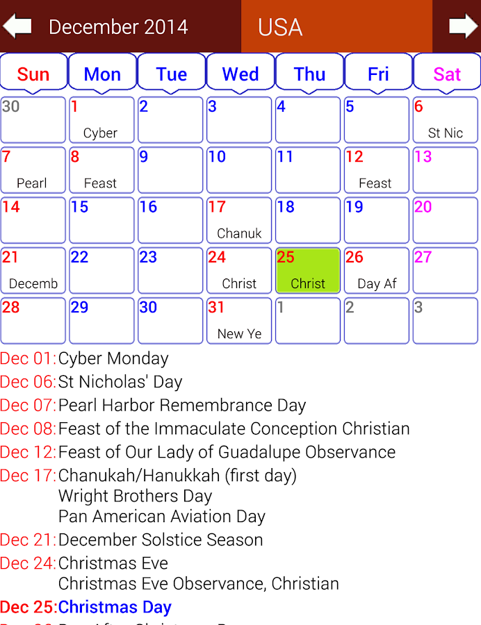 Holiday Calendar Free - screenshot