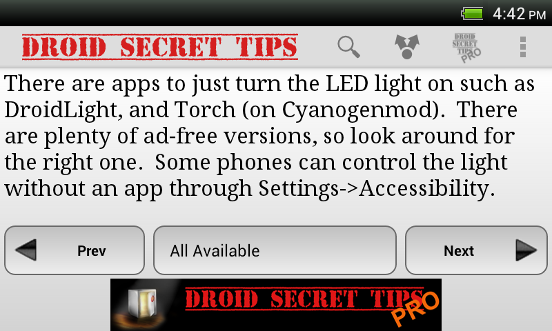 Droid Secret Tips - screenshot