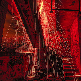 Welcome to Hell by Simon Sweetman - Abstract Light Painting ( red, hell, sparks, painting, light,  )
