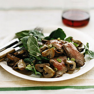 Steak with Arugula and Balsamic Mushrooms.