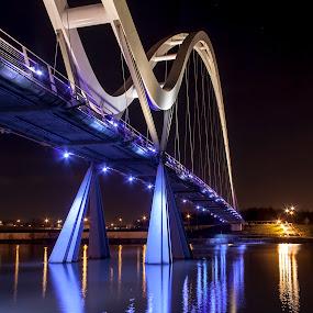 Infinity Bridge by Barrington Dent - Buildings & Architecture Bridges & Suspended Structures ( lights, water, purple, bridge )
