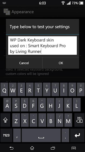 WP Dark Keyboard Skin