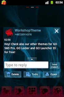 GO SMS PRO Theme Blue Smoke - screenshot thumbnail