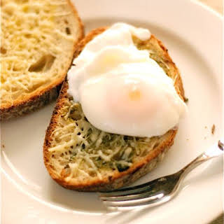 Pesto Cheese Toast with Poached Eggs.