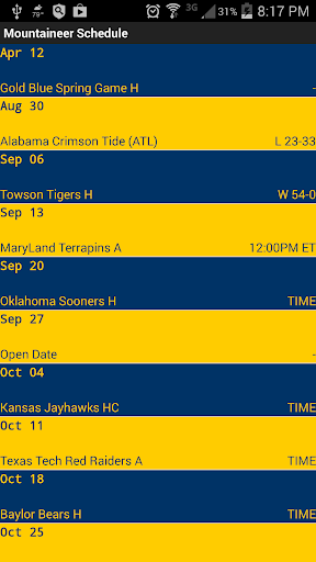 Mountaineer Football Schedule