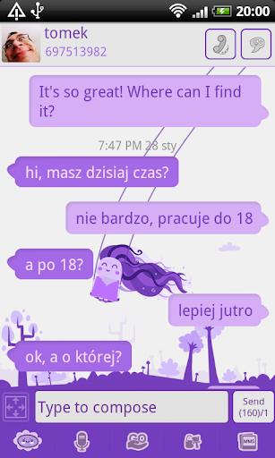 GO SMS Pro Purple Girl Theme