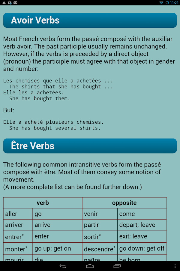 French Verbs- screenshot