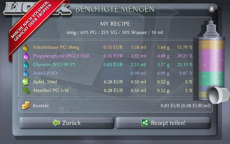 android LIQUIX Liquidrechner & Manager Screenshot 5