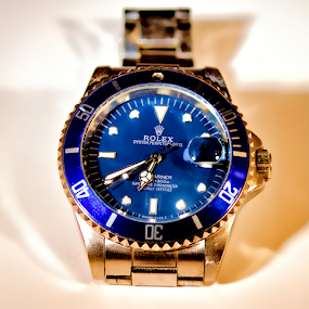 Rolex by Lawrence Ferreira - Artistic Objects Jewelry ( product, timepiece, macro, product photography, blue, watch, priceless, mariner, gold, watches, rolex,  )