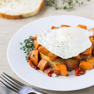 Sweet Potato Hash with Bacon and Red Peppers