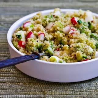 Quinoa Salad with Avocado, Radishes, Cucumbers, and Cumin-Lime Vinaigrette.