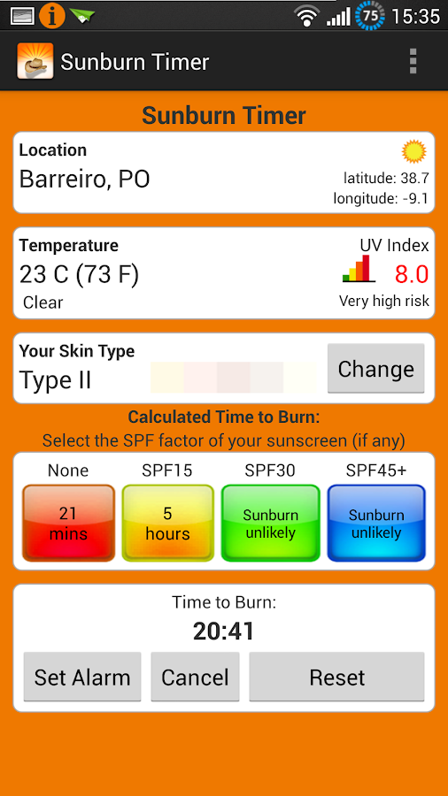 Sunburn Timer - screenshot