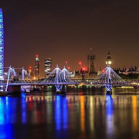 London Eye by Nachau Kirwan - City,  Street & Park  Night ( colour, water, lights, night photography, waterscape, nightscape, , Lighting, moods, mood lighting, bridge, Urban, City, Lifestyle )