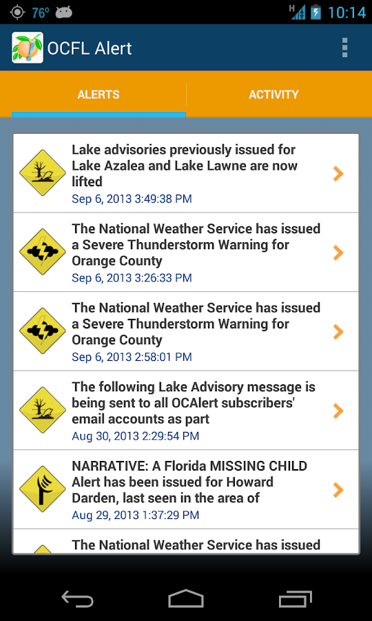 OCFL Alert - screenshot
