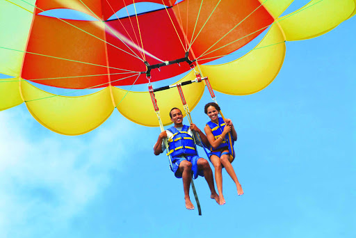parasailing-st-thomas-US-Virgin-Islands - Try parasailing to get a bird's eye view of St. Thomas in the U.S. Virgin Islands.
