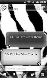 Zebra Theme for GO SMS Pro- screenshot thumbnail