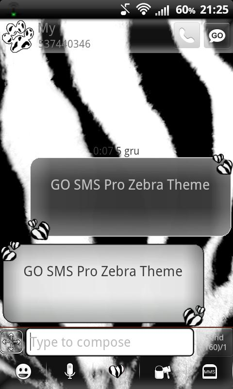 GO SMS Pro Zebra Theme - screenshot