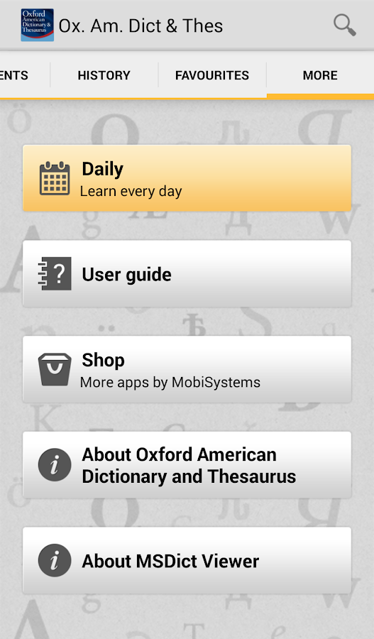 Oxford American & Thesaurus TR - screenshot