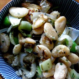 Sauteed Butter Beans With Celery And Onions.