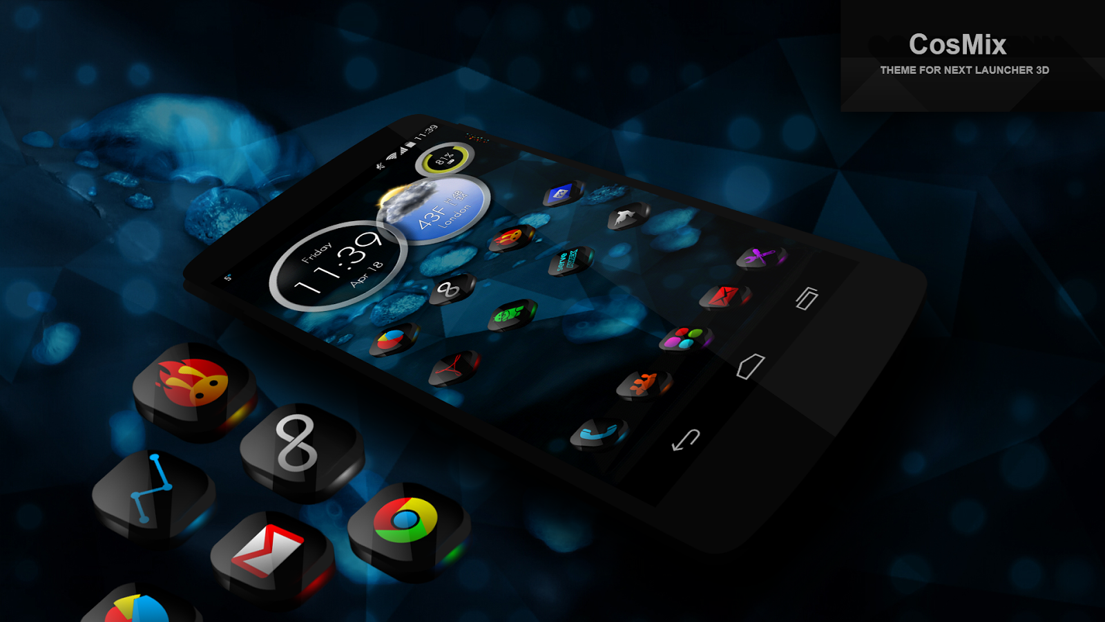 next launcher theme cosmix 3d android apps on google play. Black Bedroom Furniture Sets. Home Design Ideas
