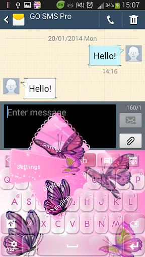ピンク蝶キーボード