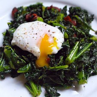 Kale with Chorizo and Poached Eggs.