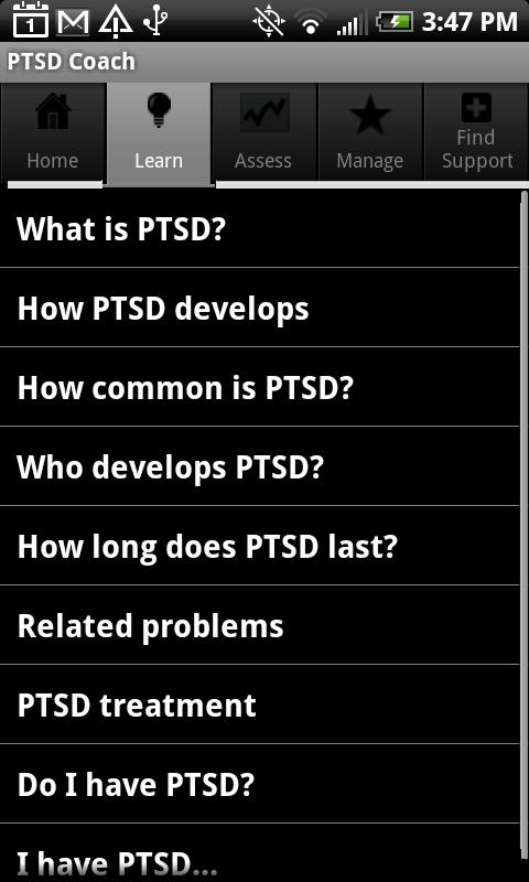 PTSD Coach- screenshot