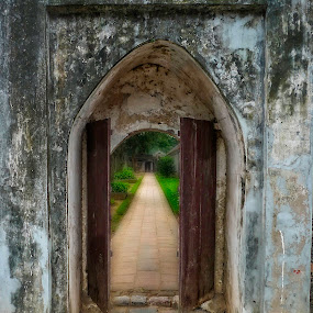 A pathway inside The Temple of Literature  by Barb Hauxwell - Buildings & Architecture Public & Historical ( pathway, temple of literature, hanoi, door, vietnam )