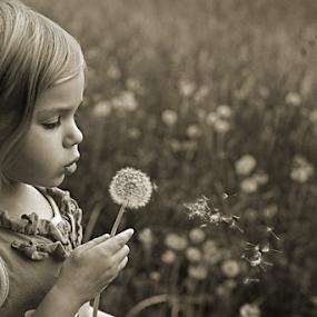 by Tiona Anglin Appel - Babies & Children Children Candids ( kids playing in summer, b&w, candids, children, flower )