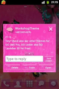 GO SMS Theme Pink Star- screenshot thumbnail