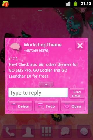 GO SMS Theme Pink Star- screenshot