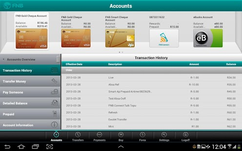 FNB Banking App for Tablet - screenshot thumbnail