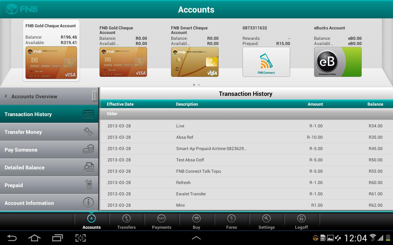 FNB Banking App for Tablet- screenshot