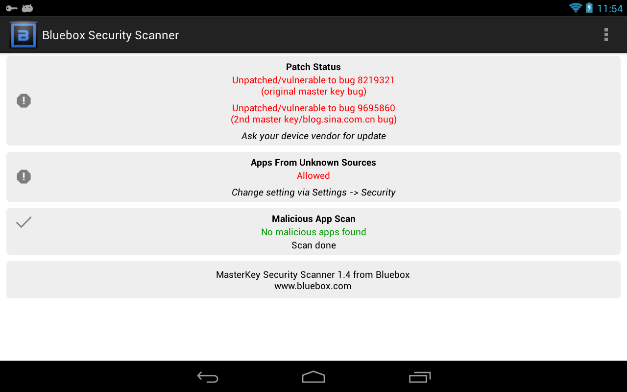 Bluebox Security Scanner - screenshot