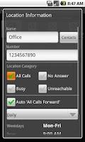 Screenshot of QuickCallForward