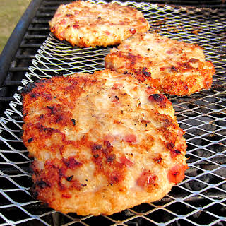 Grilled Ham & Cheese Chicken Burgers.