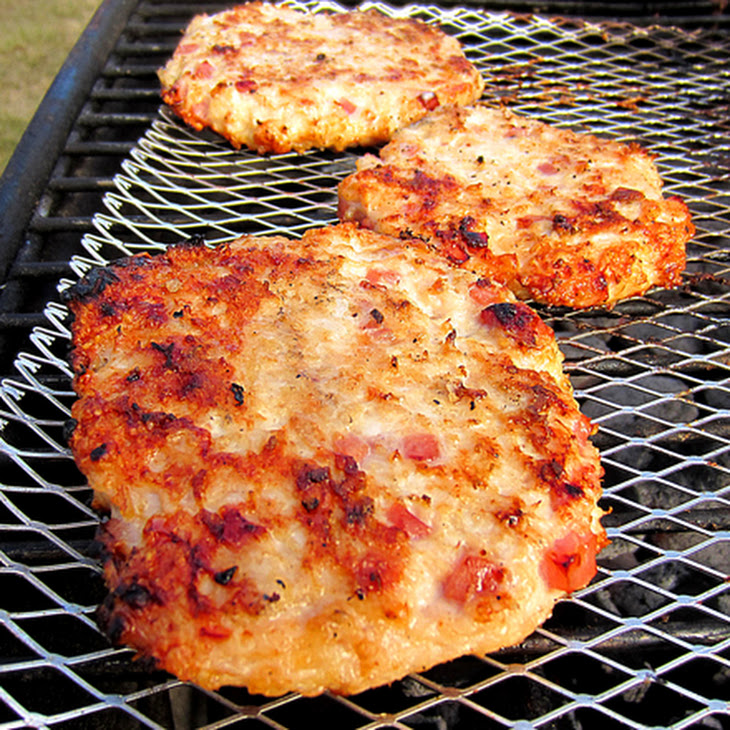 Grilled Ham & Cheese Chicken Burgers Recipe