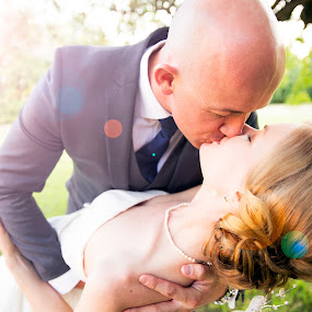 First kiss by Callum Harris - Wedding Bride & Groom ( kiss, swept off feet, married, wedding, couple, first, dance )