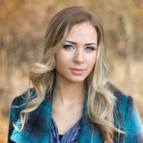 Autumn sonata by Goran Kojadinovic - People Portraits of Women ( model, park, beautiful, beauty, pretty, bokeh, portrait, shallow depth of field, girl, autumn, gorgeous, woman, fall, blue eyes,  )