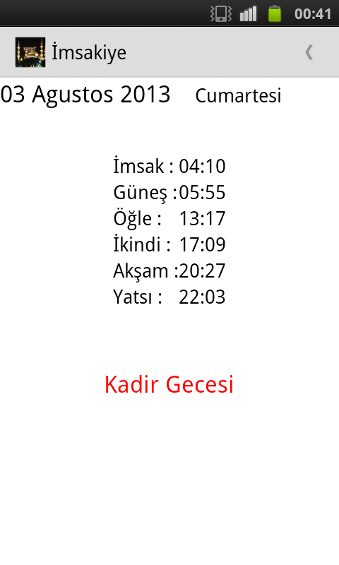 İmsakiye 2015- screenshot