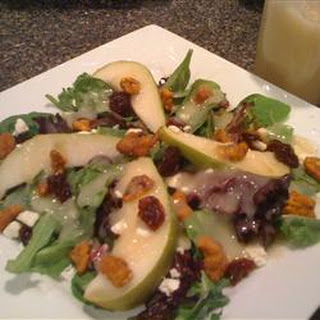 Fresh Pear and Cherry Salad with Vanilla Pear Vinaigrette.