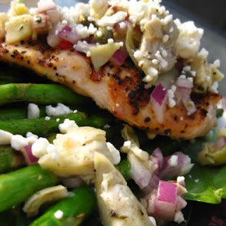 Lemon Pepper Chicken with Artichoke Salsa & Roasted Asparagus.