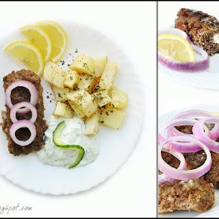 Beefteki yemista me feta tyri, Stuffed Beef Burgers with Feta Cheese.