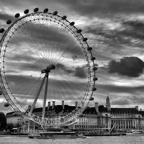 London Eye Landscape by Tracy Hughes - Black & White Landscapes ( , black and white, b&w, landscape )
