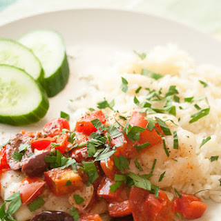 Baked Cod with Tomatoes and Olives.