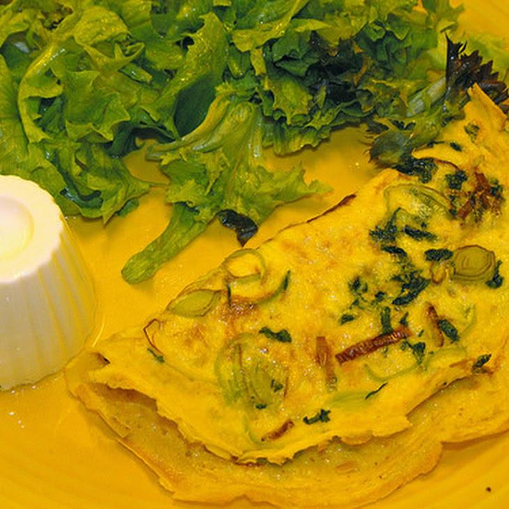 Egg Crepe with Leek and Cilantro Recipe