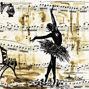 Dancing in the rain by Amas Art - Drawing All Drawing ( draw, music, park, paper, park bench, ballerina, dance, rain, ink )