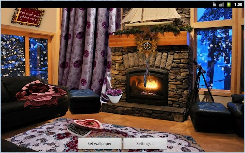 Romantic Fireplace Live Wallpaper - náhled