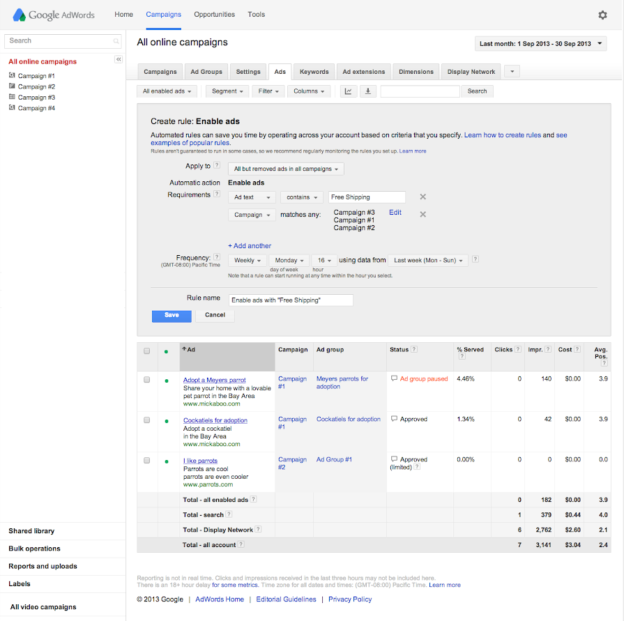 how to set up keywords in adwords