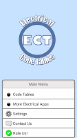 Screenshot of Electrical Code Tables